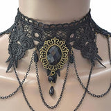 Necklace_Statement Black Lace Cameo Choker Necklace Wear With Love