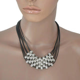 Necklace_Statement Black Leather Multi Strand Statement Necklace Wear With Love