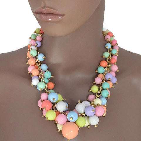 Necklace_Statement Candy Pink Burst Cluster Beaded Necklace Wear With Love