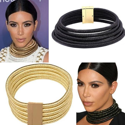 Necklace_Statement Celebrity Inspired As Seen On Kim Kardashian Multi Tribal Choker Rope Necklace Wear With Love