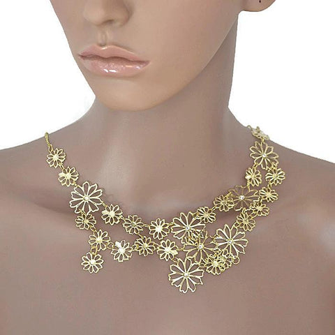 Necklace_Statement Delicate Gold Filigree Daisy Necklace Wear With Love