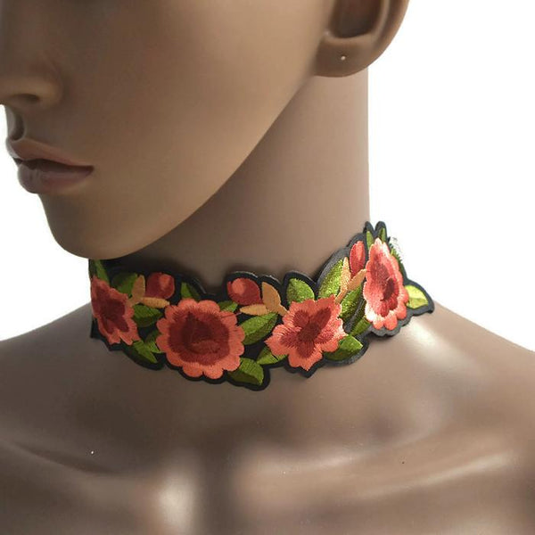 Necklace_Statement Floral Embroidered Choker Necklace Wear With Love