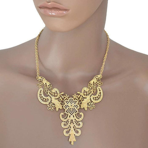 Necklace_Statement Gold Lace Design Necklace Wear With Love