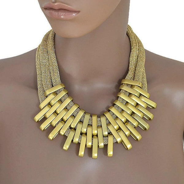 Necklace_Statement Gold Woven Mesh Statement Necklace Wear With Love