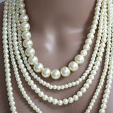 Necklace_Statement Handmade Glass Multi Layer Strand Pearl Necklace Wear With Love