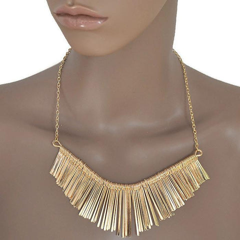 Necklace_Statement Statement Metal Fringed Necklace Wear With Love