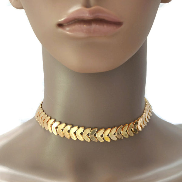 Necklace_Statement Metropolitan  Gold Choker Necklace Wear With Love