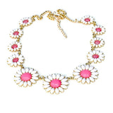 Necklace_Statement Pink Daisy Chain Necklace Wear With Love