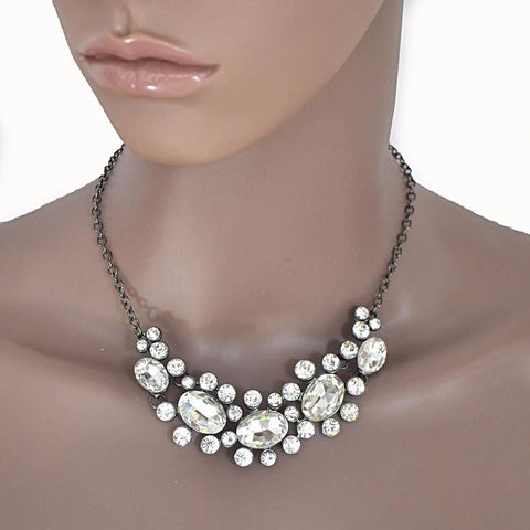 Necklace_Statement Pretty Art Deco Gem Encrusted Silver Necklace Wear With Love