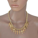 Necklace_Statement Punk Funky Gold Cross Choker Chain Necklace Wear With Love