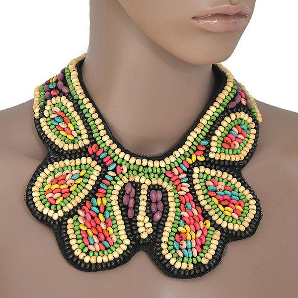 Necklace_Statement Rainbow Wave Beaded Bohemian Bib Collar Necklace Wear With Love