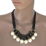 Necklace_Statement Ribbon & Pearls Panel Statement Necklace Wear With Love