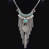 Necklace_Statement Tribal Coin Silver Tassel Necklace Wear With Love