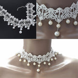 Necklace_Statement White Festival  Lace & Bead Choker Necklace Wear With Love