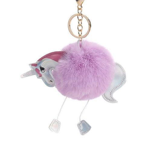 Unicorn Pom Pom Handbag Key Charm Key Ring