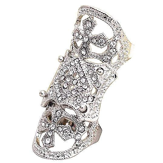 Rings_Statement Austrian Crystal Double Knuckle Silver Ring Wear With Love