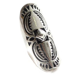 Rings_Statement Aztec Design Carved Boho Long Ring Wear With Love