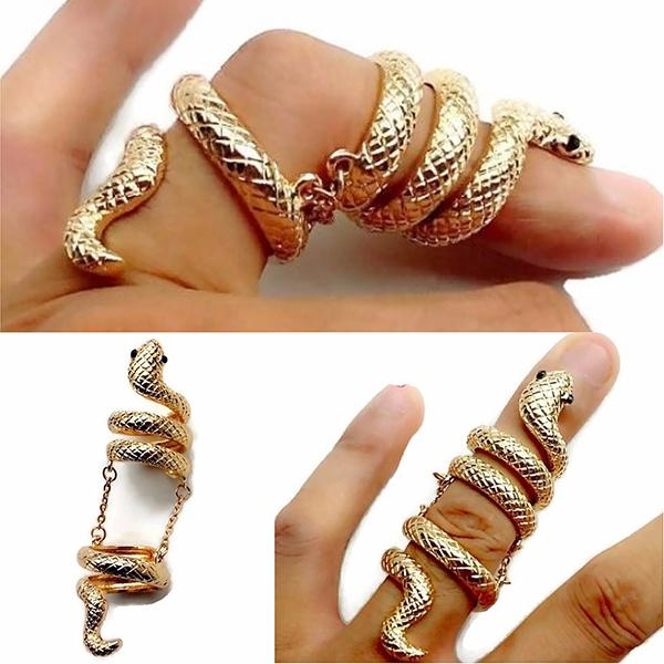 Rings_Statement Bijoux Long Gold Snake Knuckle Full Length Finger Ring Wear With Love