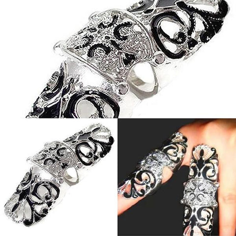 Rings_Statement Double Jointed Black Knuckle Armour Ring Wear With Love