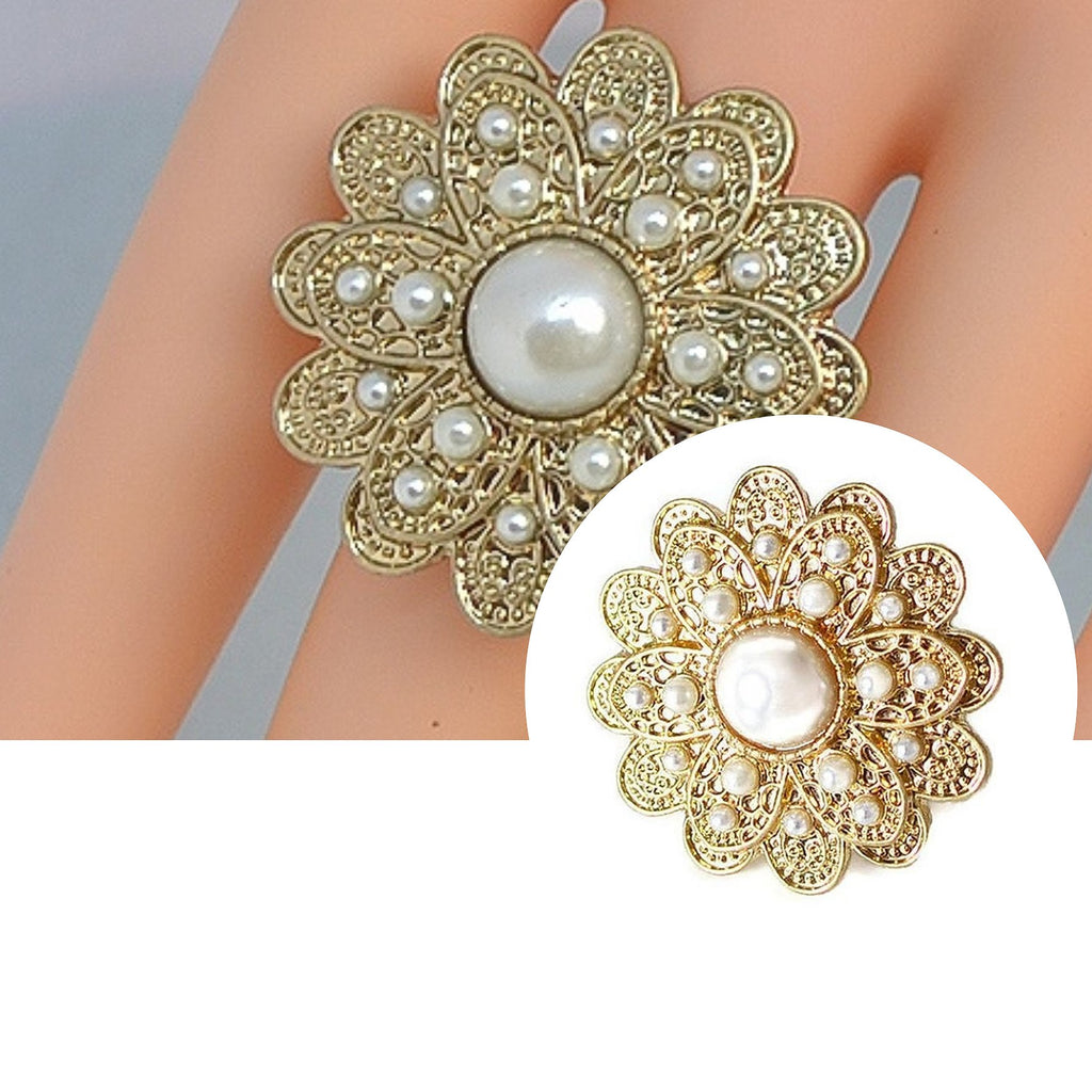 Gold pearl daisy flower ring wear with love izmirmasajfo