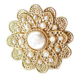 Rings_Statement Gold Pearl & Daisy Flower Ring Wear With Love