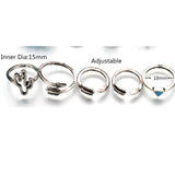 Rings_Statement Set Of Nine Blue Marina Silver Stacking Arrow Rings Wear With Love