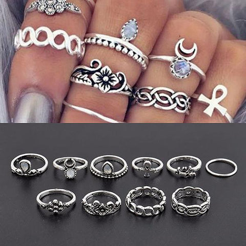 Rings_Statement Set Of Ten Boho Silver Stacking Rings Wear With Love