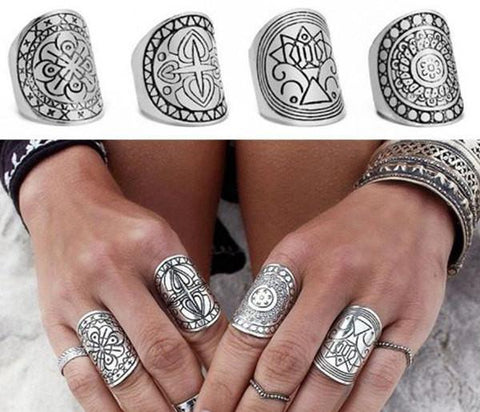 Rings_Statement Tibetan Silver Plated Carved Design Stacking Four Ring Set Wear With Love