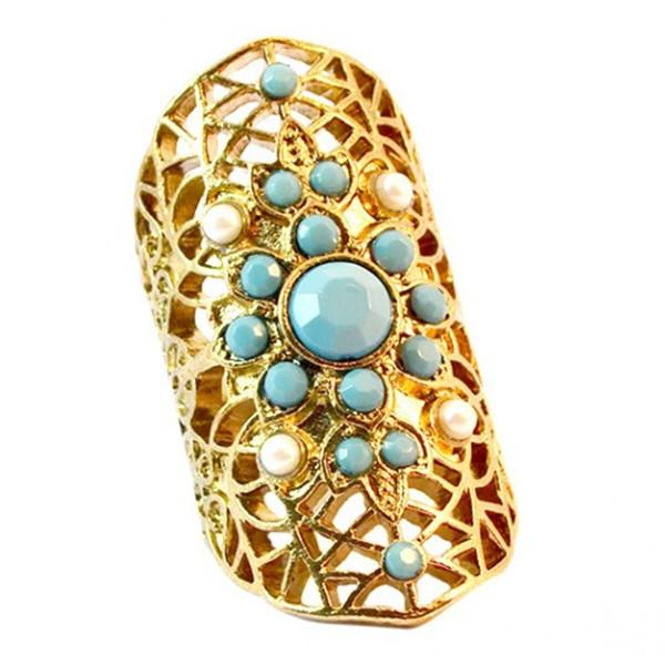 Rings_Statement Turquoise Beaded Sunburst Ring Wear With Love