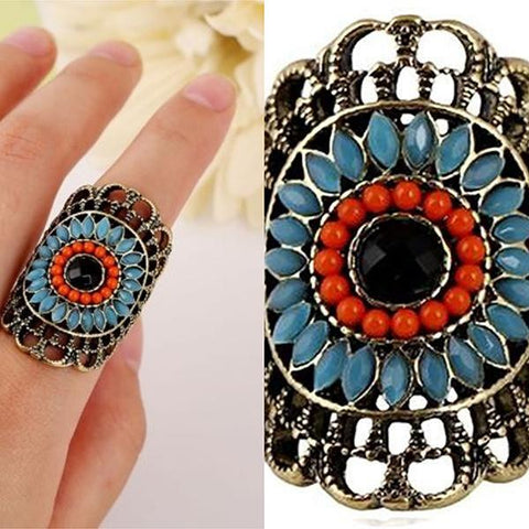 Rings_Statement Turquoise Flower Beaded Festival Ring Wear With Love