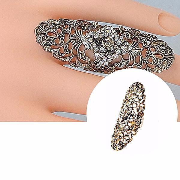 Rings_Statement Vintage 50S Style Long Diamond Encrusted Ring Wear With Love