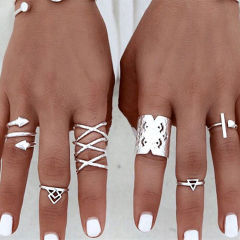 Aztec Silver Stacking Rings