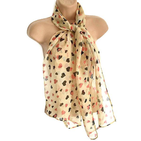 Scarves Beige Heart Motif Scarf Wear With Love