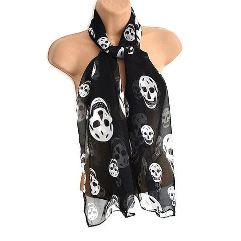 Scarves Black Skull Motif Scarf Wear With Love