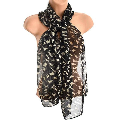 Scarves Lucky Cat Motif Printed Scarf Wear With Love