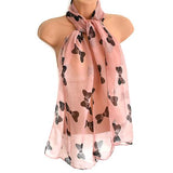 Scarves Pretty Black Bow Print Scarf Wear With Love