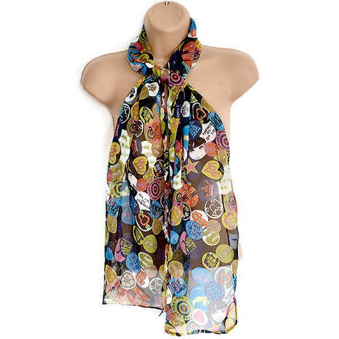Scarves Retro Pop Art Print Scarf Wear With Love