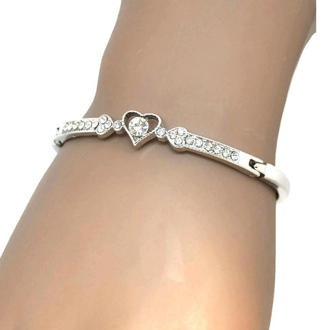 Silver & Charm Bracelets Bezel Crystal Heart Bracelet Wear With Love