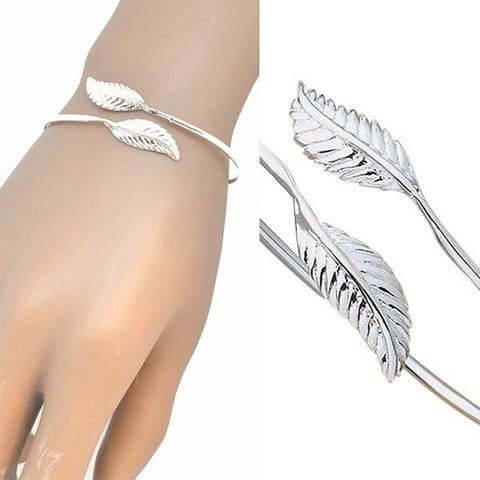 Silver & Charm Bracelets Double Leaf Bangle Wear With Love