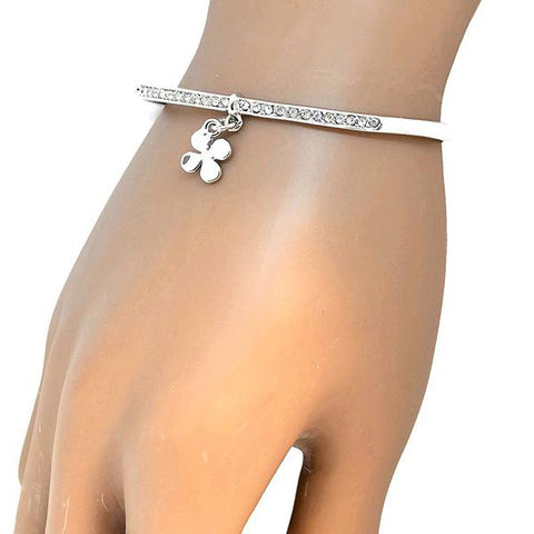 Silver & Charm Bracelets Four Leaf Clover Open Torque Bangle Wear With Love
