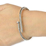 Silver & Charm Bracelets Funky Nail Design Metal Bangle Wear With Love