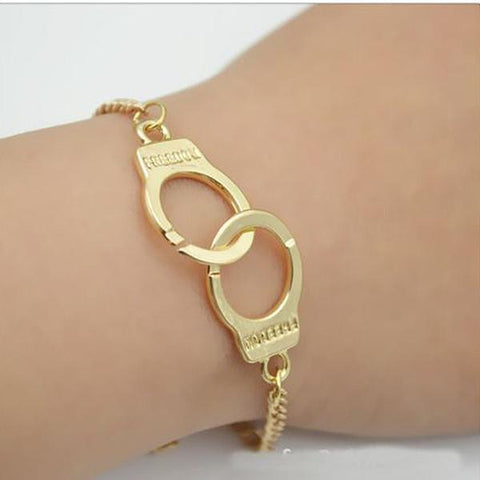Silver & Charm Bracelets Gold Handcuffs Freedom Chain Bracelet Wear With Love