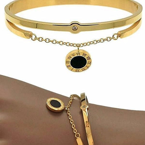 Silver & Charm Bracelets Gold Roman Numerals Bijoux Bangle Wear With Love
