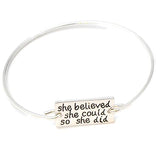 Silver & Charm Bracelets Hand Stamped She Believed Could So Did Bracelet Wear With Love
