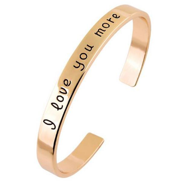Silver & Charm Bracelets I Love You More Gold Stamped Torque Bangle Wear With