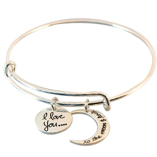 Silver & Charm Bracelets I Love You To The Moon And Back Alex  Bracelet Wear With