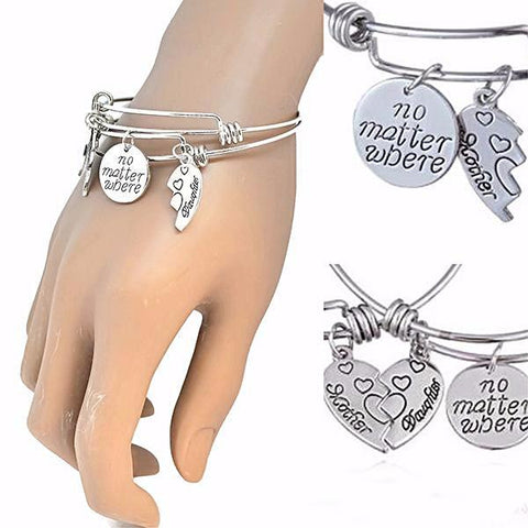 Silver & Charm Bracelets Mother Daughter Double Compass Bracelet Wear With Love