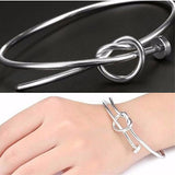 Silver & Charm Bracelets Plated Nail Bangle Wear With Love