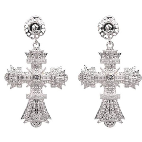 silver crucifix oversized earrings