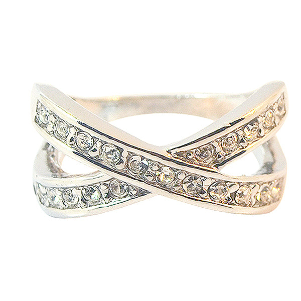 Austrian Crystal Cross Band Ring